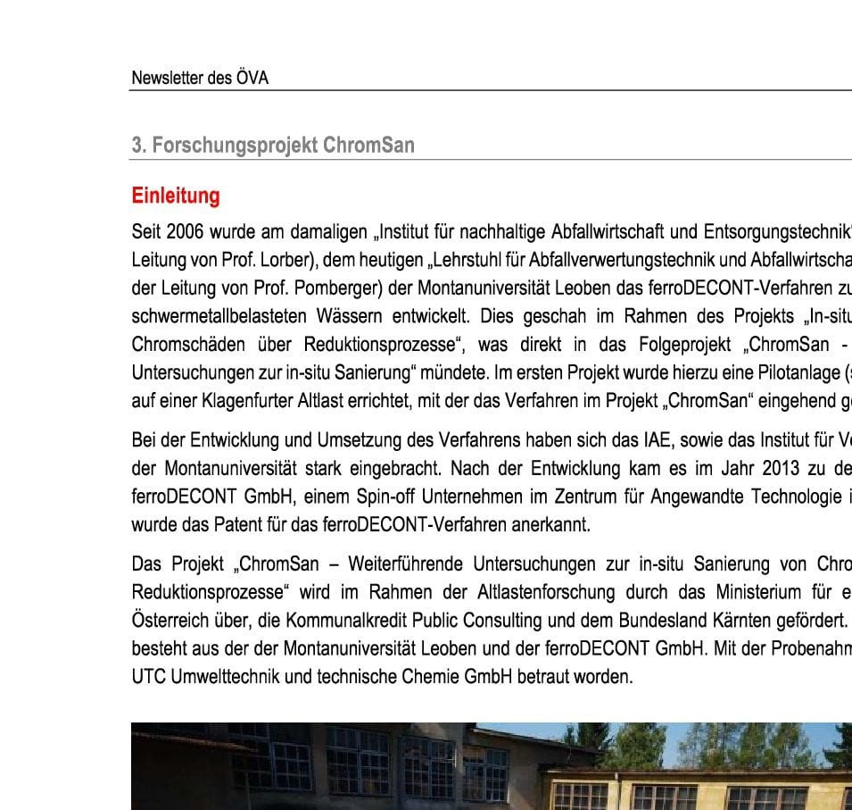 Verein für Altlasenmanagement ÖAV - Forschungsprojekt ChromSan
