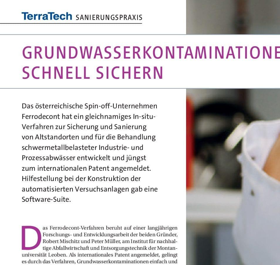 TerraTech - Grundwasserkontaminationen schnell sichern