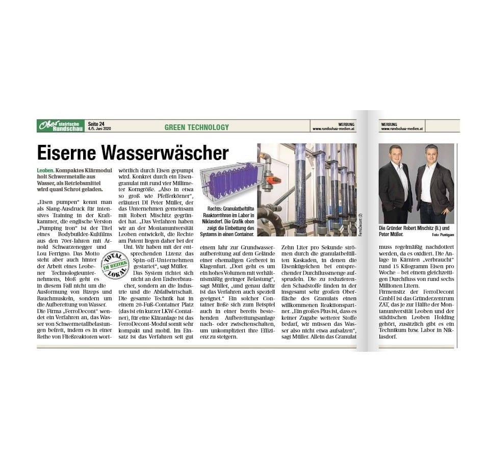 Artikel Obersteirische Rundschau 2020 - Eiseren Wasserwäscher