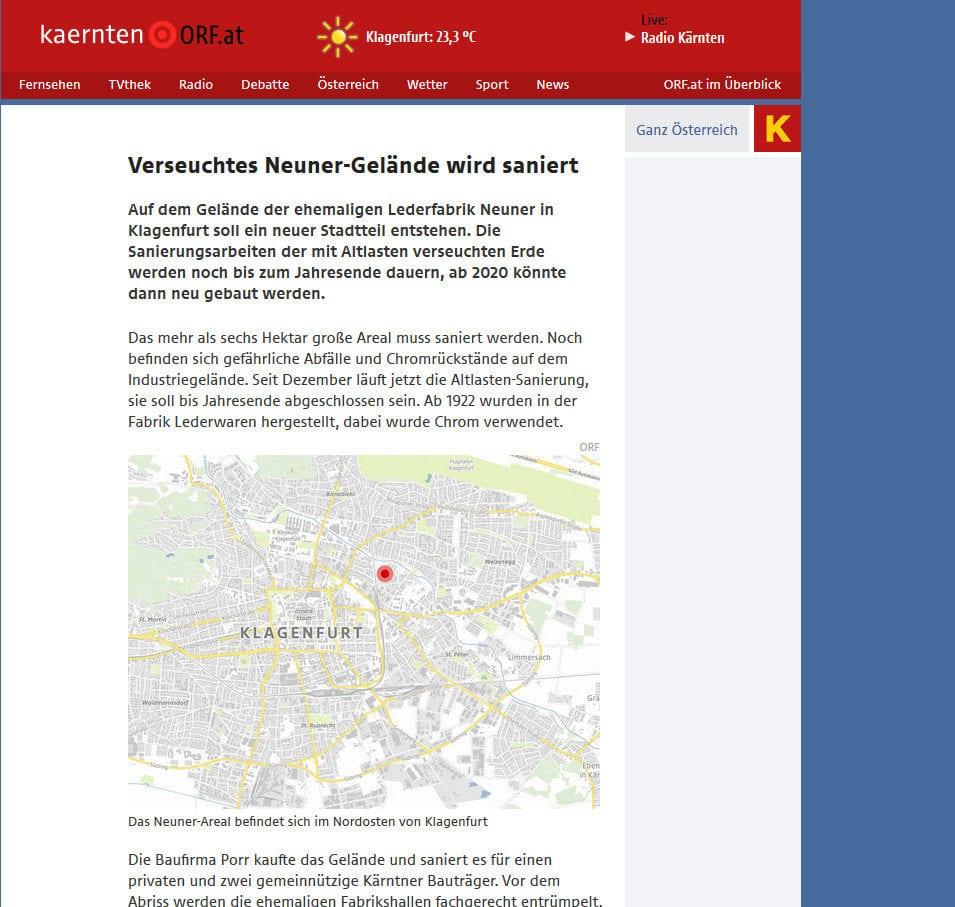 ORF Kärnten - verseuchtes Neuner-Gelände wird saniert